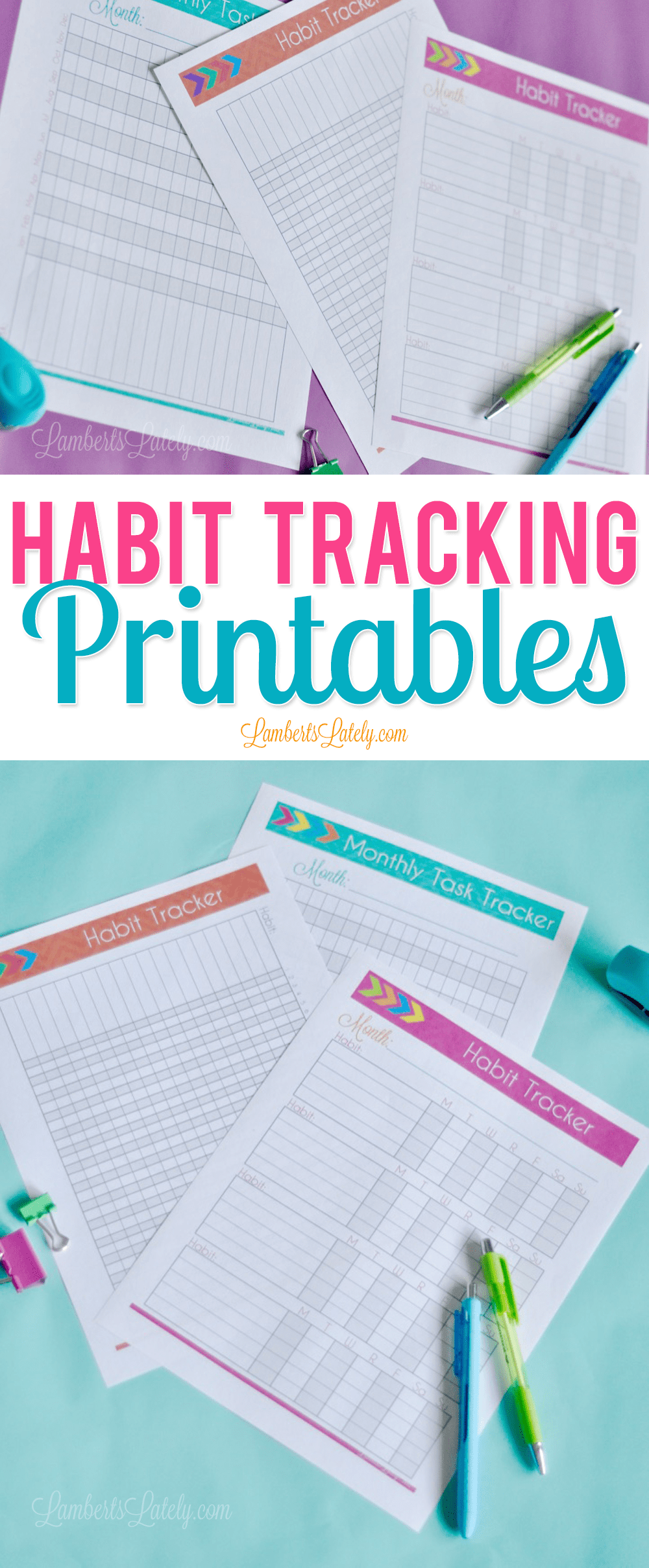 This Habit Tracker Printable set is awesome!  It has daily, monthly, and weekly format, as well as a 30 day checklist.