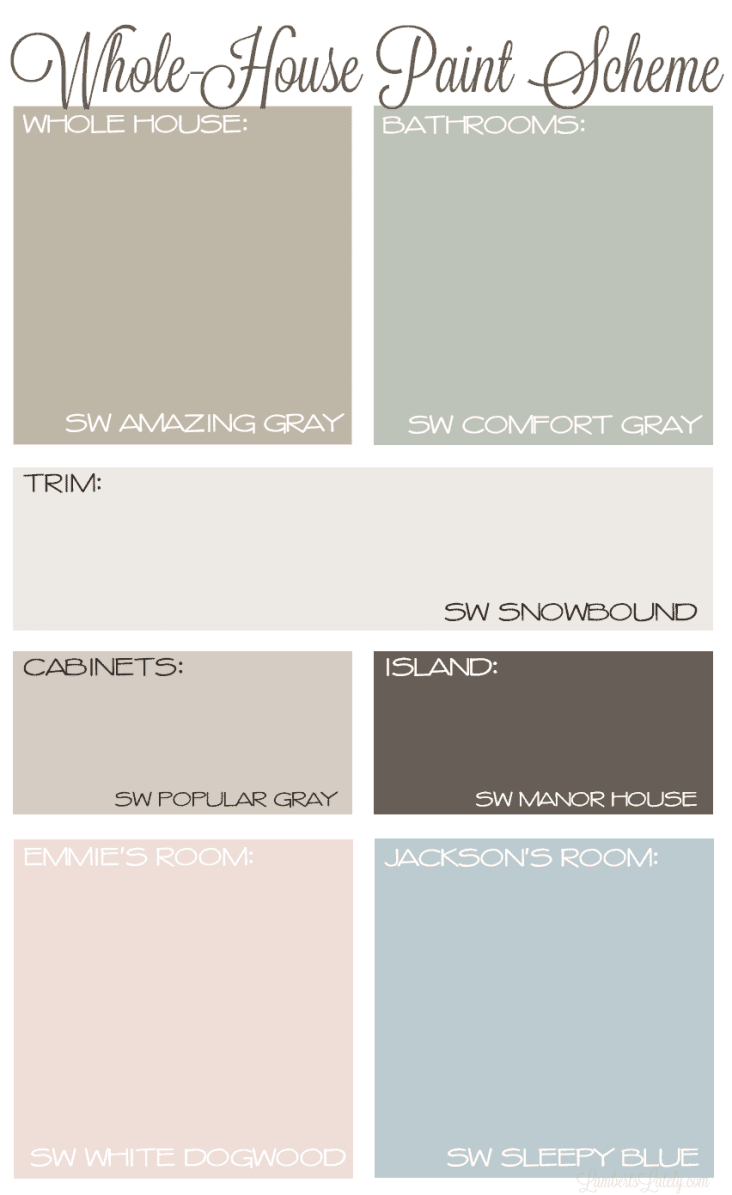 Whole House Paint Scheme with Neutral Colors || Sherwin Williams Amazing Gray Comfort Gray Snowbound Agreeable Gray Manor House || Farmhouse Paint Plan