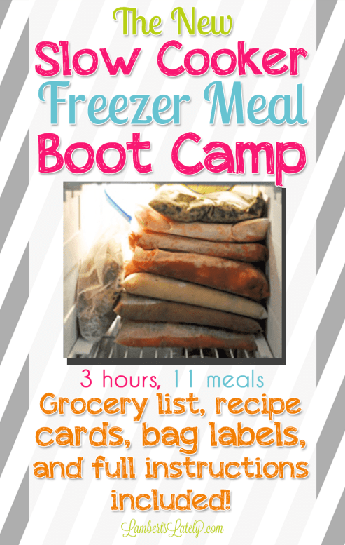 This post has 11 easy slow cooker freezer meals! You can prep these recipes in just a few hours. Includes chicken, beef, and vegetarian recipes, as well as grocery list and label printables.