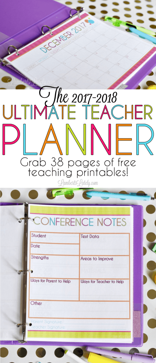 The 2017 2018 Ultimate Teacher Planner Lamberts Lately