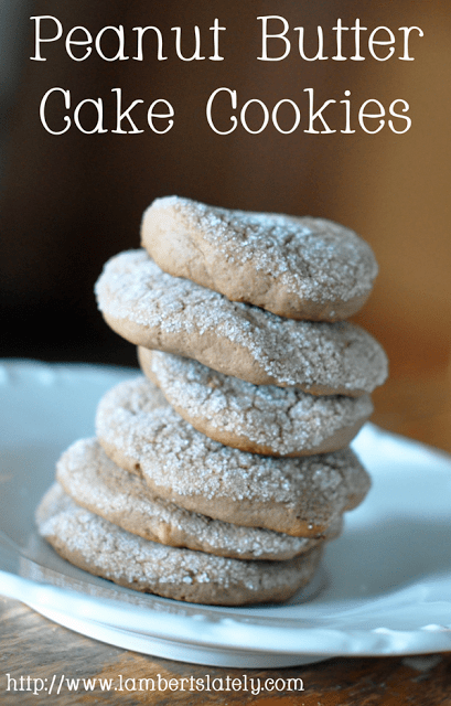 Peanut Butter Cake Cookies - soft and chewy in the middle with a little bit of crunch from sugar coating!
