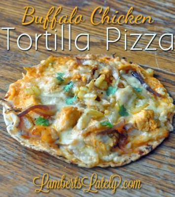 Buffalo Chicken Tortilla Pizza | Hot Sauce, Onions, Cheese, Celery