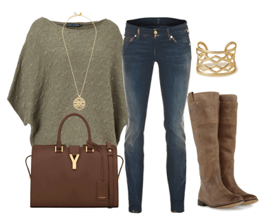 Neutral Sweater with gold accents