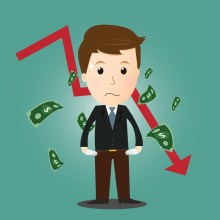 Vector of businessman lost his money in investment concept