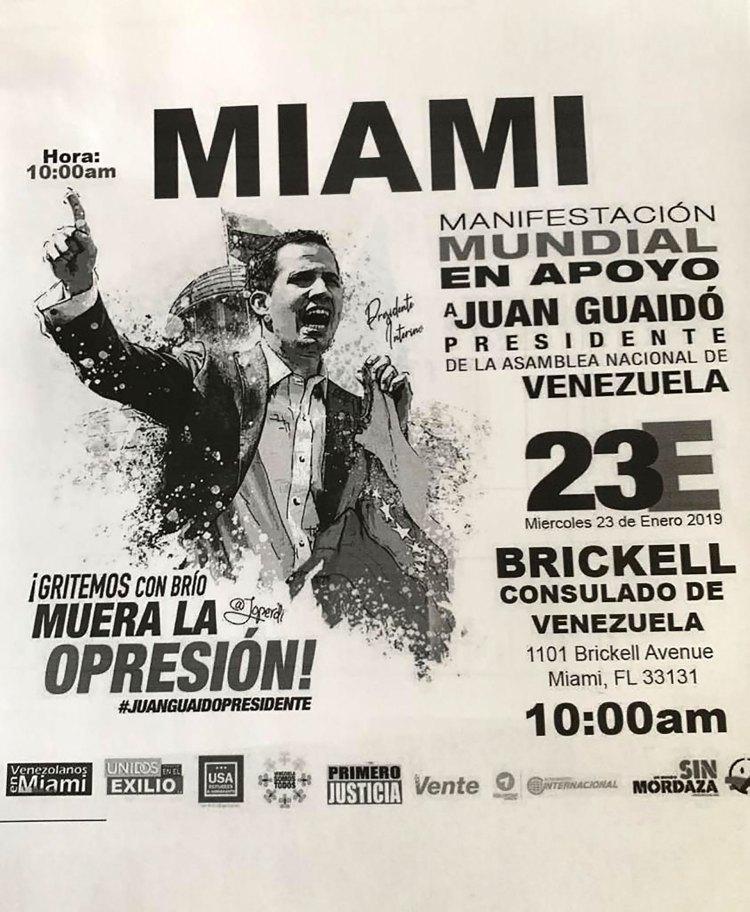 Afiche convocando a la manifestación opositora en Venezuela