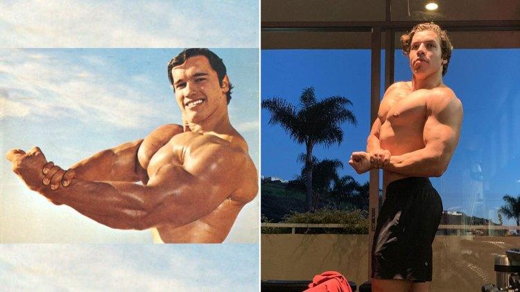 Arnold Schwarzenegger en 1967 y Joseph Baena 2019