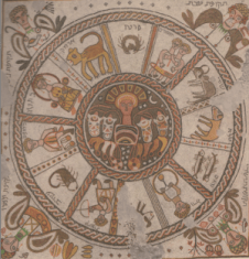 Mosaico de la sinagoga de Beit Alfa, siglo VI d.c. Representa un calendario astronómico,  el Sol en el centro, con los doce signos zodiacales a modo de meses y acompañados de los equinoccios y solsticios.