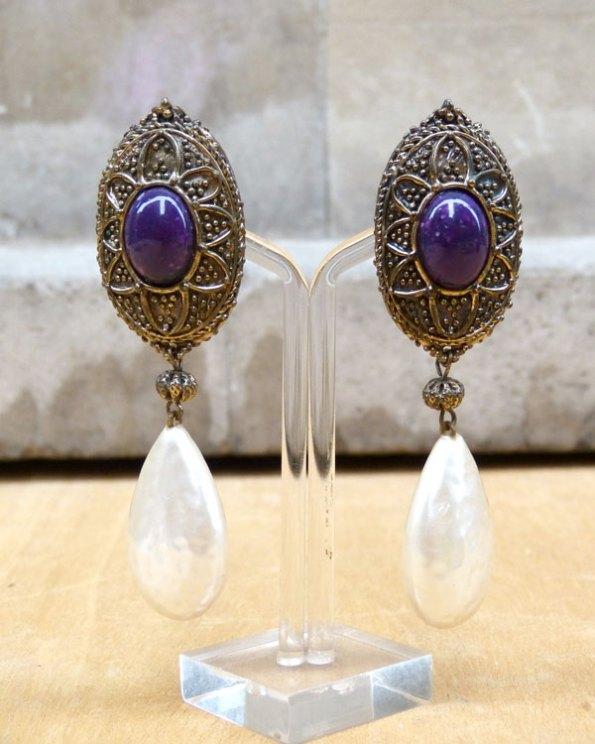 Pendientes largos con colgante en forma de perla
