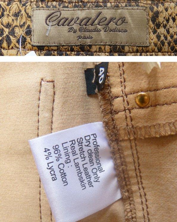 Exclusivos pantalones de piel con estampado de serpiente