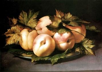 Ambrogio Figino, Piatto con pesche, olio su tavola, 21 x 30 cm.