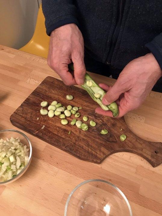 Fusilli con fave, zucchine e finocchi