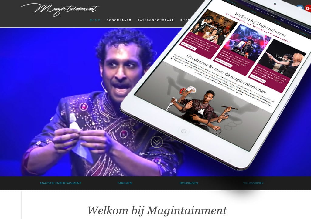 Website Magin Tainment door La Dolce Vita Marketing en webdesign uit Zeeland
