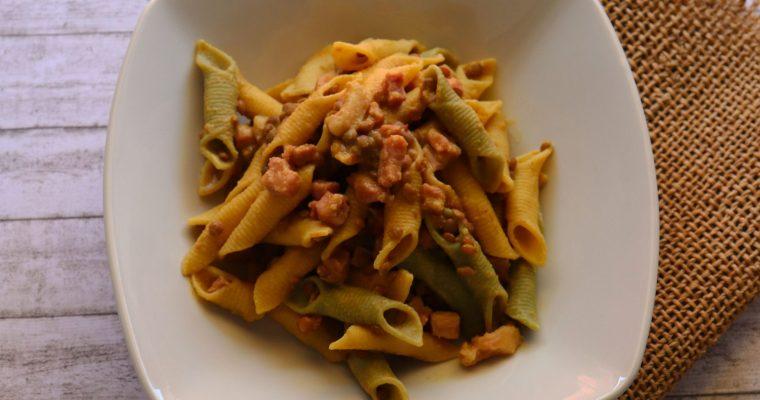 Garganelli con lenticchie e pancetta piccante