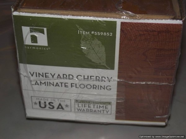Costco Harmonics Vineyard Cherry Laminate Review Costco Harmonics Vineyard Cherry  Lifetime warranty on box label