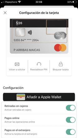 Configuración de la tarjeta