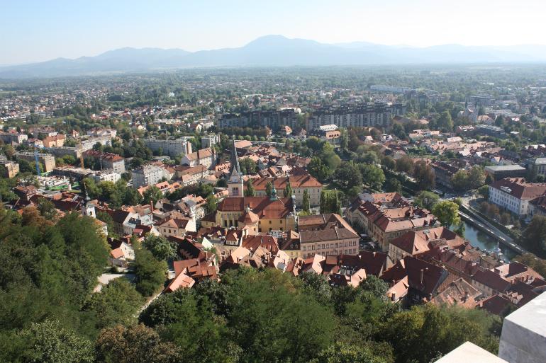 vistas de ljubljana desde el castillo