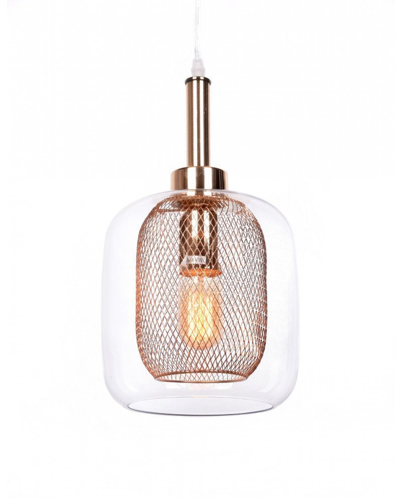 lampada da soffitto di design forma barattolo oro