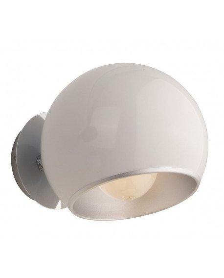 applique a parate anni 60 bianca a forma di sfera con paralume orientabile