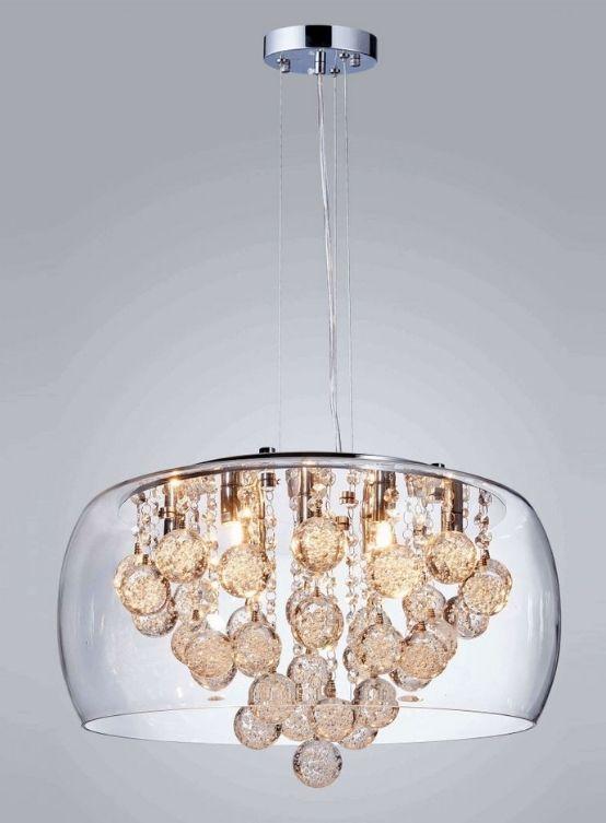 Vecchio lampadario cristallo boemia cristalli pendenti, 8 luci candele vetro opalino, anni '40 '50. Lampadario A Sospensione Moderno Con Paralume In Vetro E Cristalli Pendenti