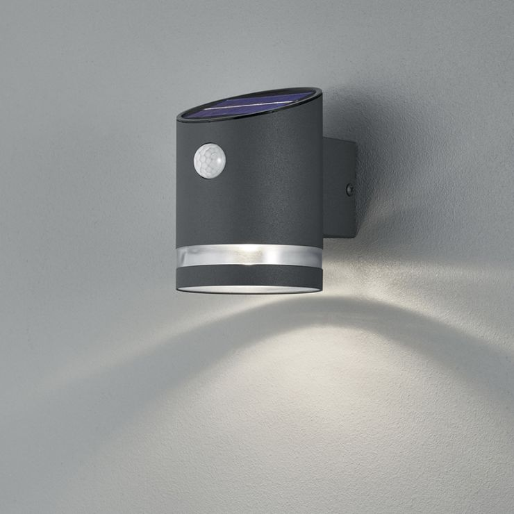 outdoor wall lamp anthracite with motion sensor on solar sal