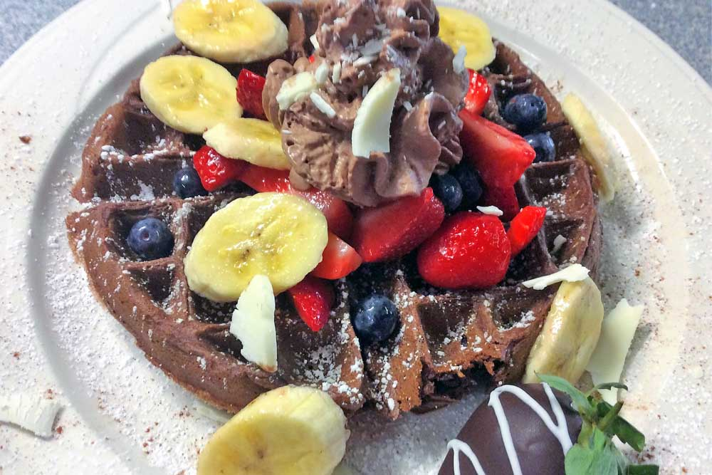 Chocolate Waffle with Bananas and Strawberries