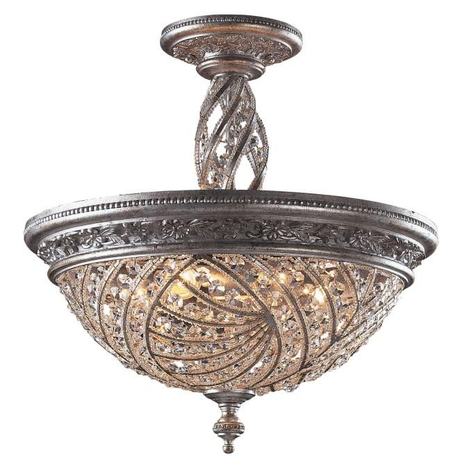 Elk Lighting 6233 6 Crystal Renaissance Semi Flush Mount Ceiling Fixture