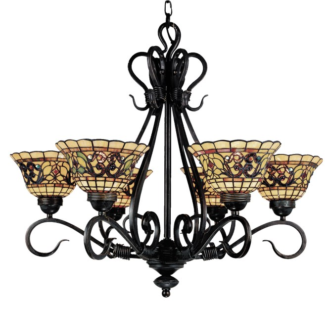 Elk Lighting 366 Va Tiffany Buckingham Six Light Chandelier