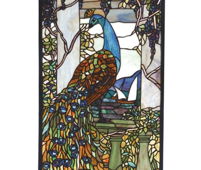 Meyda  Tiffany Peacock Stained Glass Window