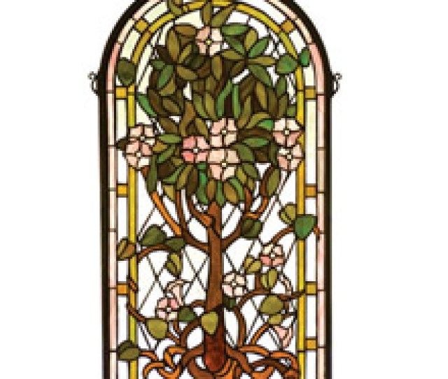 Meyda  Tiffany Tree Of Life Arched Stained Glass Window