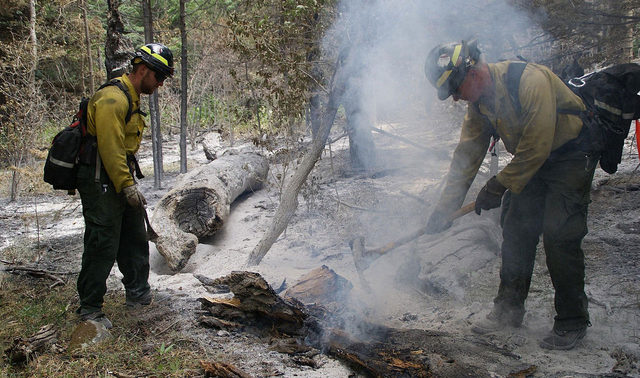 firefighters extinguish wildfire embers from East Peak Fire, CO
