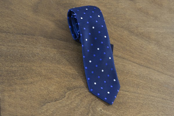 Cravatta a pois fondo blu mod. 105