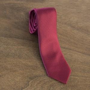 Cravatta a pois fondo rosso mod. 083