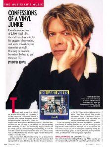 David Bowie e i suoi dischi preferiti su Vanity Fair.