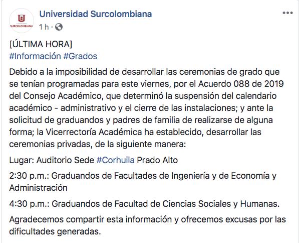 Estudiantes de la Usco debieron graduarse en la Corhuila 2 27 mayo, 2020