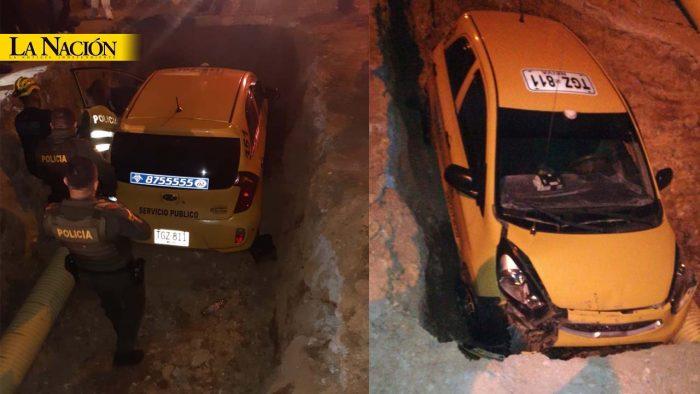 Un taxi cayó a un inmenso hueco en Neiva 1 16 febrero, 2020
