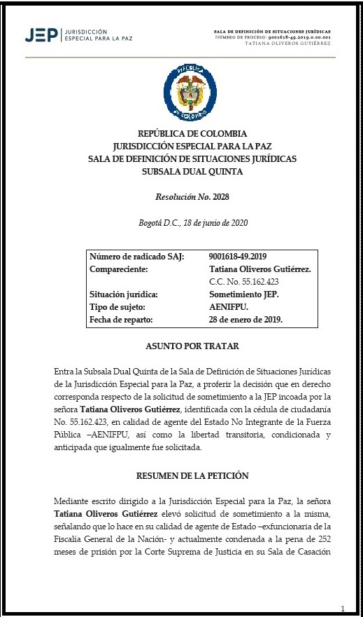 La ex fiscal Oliveros no pudo aterrizar en la JEP 2 3 agosto, 2020