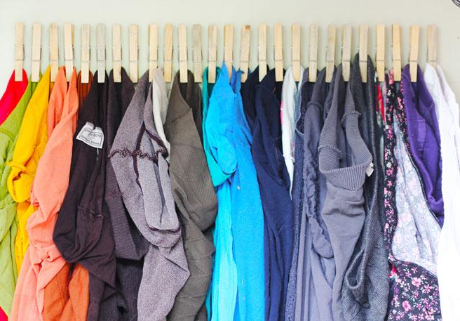 Clothespins Tights Organizer DIY via Lana Red Studio - So EASY! Closet Organization Ideas and Space Saving Hacks