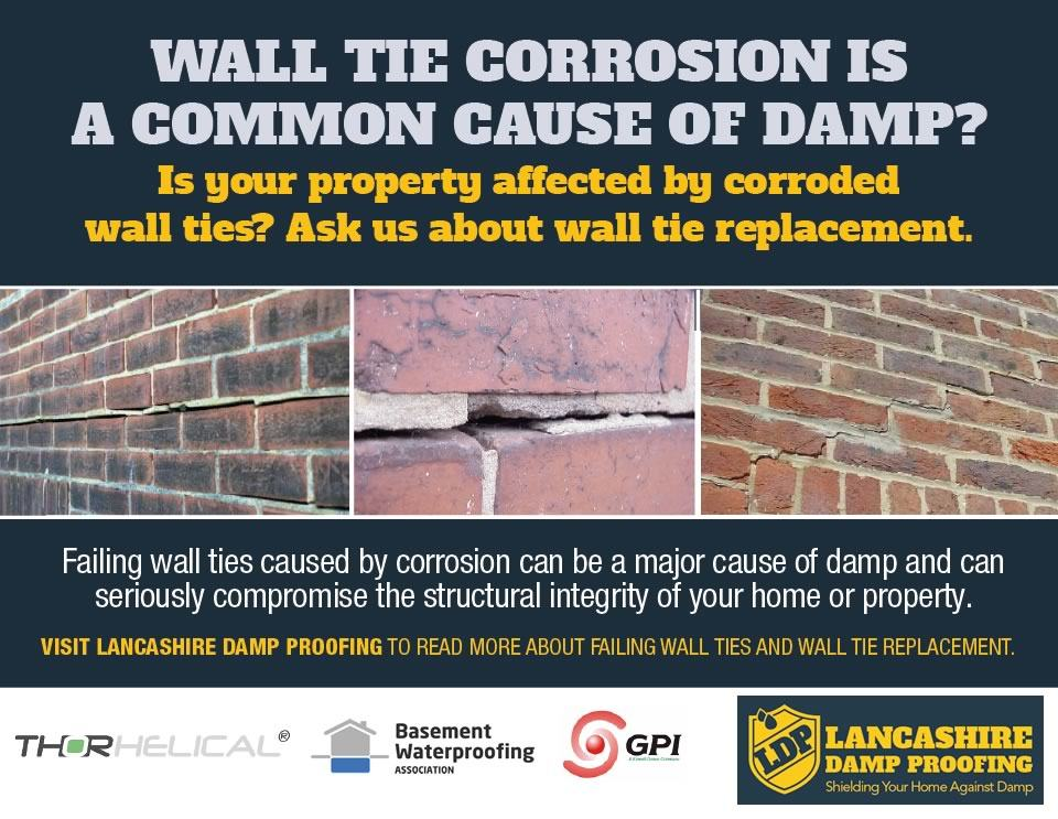 CORRODED WALL TIE REPLACEMENT BY LANCASHIRE DAMP PROOFING.