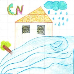 Child's picture of house with rain cloud and gushing water in front of it. The initials C.N. are in the top left