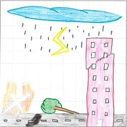 Child's picture with tall pink building with a crack near the top on the right. At the bottom is a grey road with a fallen tree in the middle and a plane with red and yellow flames coming off it. At the top is a blue thundercloud with rain drops and a yellow flash of lightning.