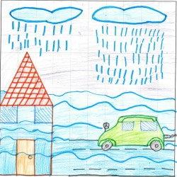 Child's drawing of a flooded street. Two light blue rainclouds with rain drops falling onto a river of blue floodwater, with a house with red roof and orange door on the left and a green car on a road on the right.
