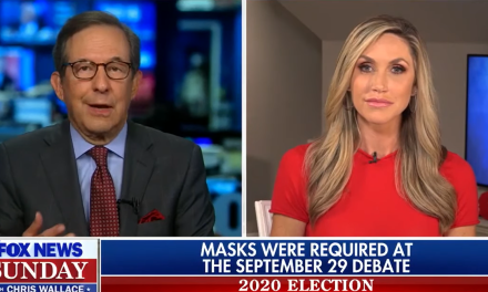 Chris Wallace shreds Lara Trump when she begins lying about wearing a mask at the first debate