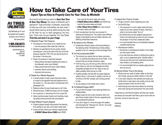 A1 Tire Care Tips