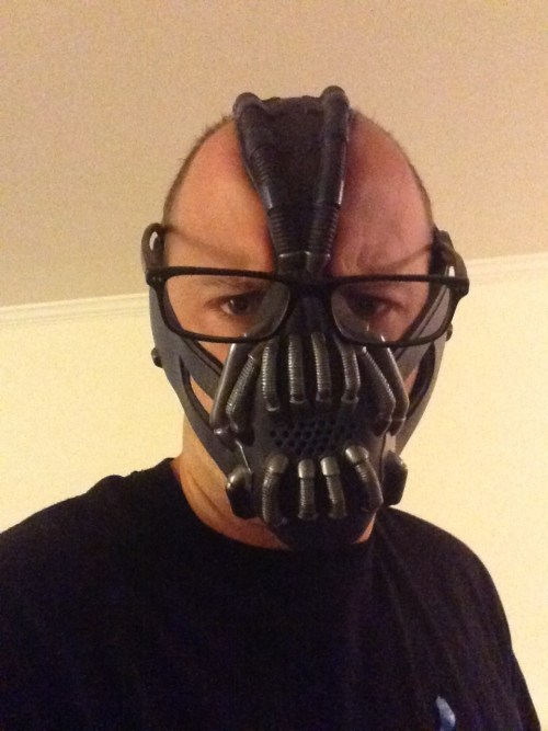 Zac Cupples with a Bane mask and corrective prisms