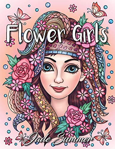 Flower Girls: An Adult Coloring Book with Cute Manga Girls, Fun Hair Styles, and Beautiful Floral Designs for Relaxation