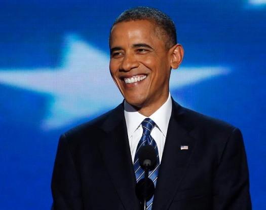 President Obama Smiling At 2012 DNC