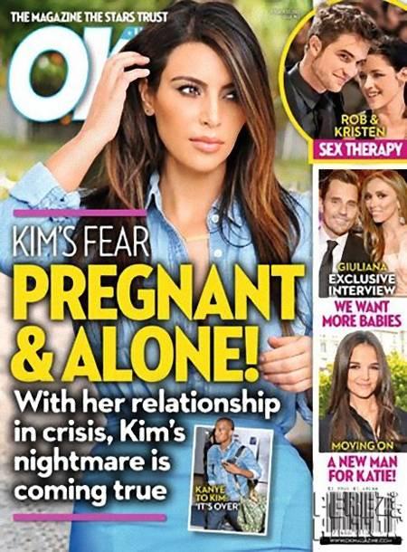 Kim Kardashian Pregnant & Alone OK Magazine Cover