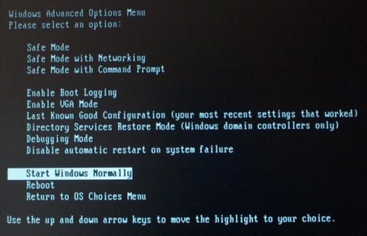 Windows Advanced Options Menu Answers
