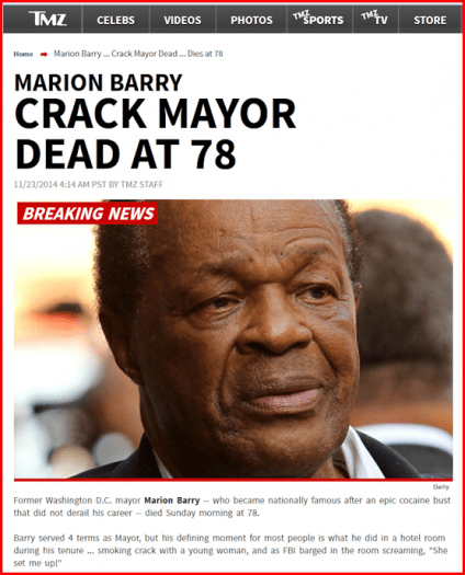 Marion Barry TMZ Headline