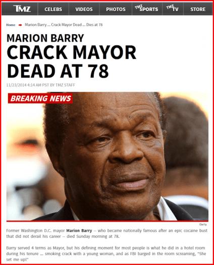 Marion Barry TMZ Headline